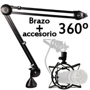 Brazos articulados, trípodes y accesorios para micrófonos