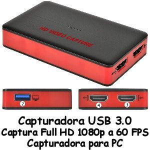 Capturadora USB 3.0 1080p 60 FPS