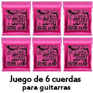 Pack de 6 cuerdas Super Slinky para guitarras