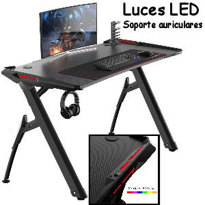 Escritorio gaming pro con luces LED