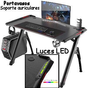 Escritorios gamer con luces LED RGB para setups con 2 pantallas