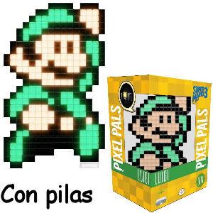 Lámpara Luigi diseño pixel juego Super Mario Bros