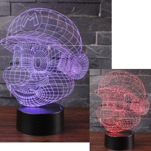 Lámpara cara Mario Bros con 7 luces de colores LED
