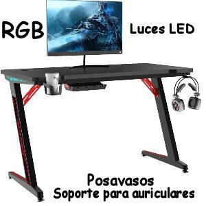 Mesa gaming RGB con luces LED, soporte para auriculares y posavasos