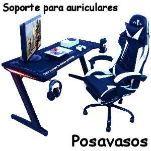 Mesa gaming con soporte para auriculares y posavasos