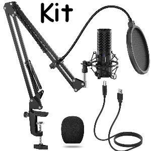 Micrófono de condensador USB con brazo para Podcast, Youtube o directos de Twitch