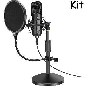 Micrófono de condensador con soporte incluido y filtropop