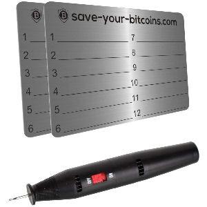 Placa de metal para guardar 24 claves privadas de tu billetera de criptomonedas