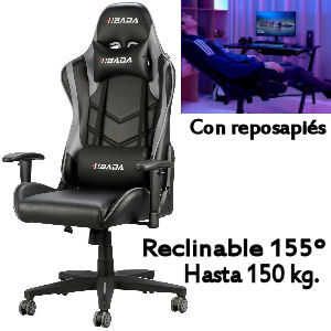 Silla gaming reclinable hasta 155 grados, soporta hasta 150 kg.