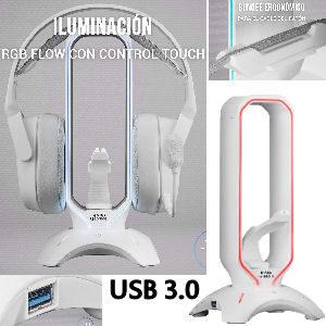 Soporte cascos gaming con Hub con 2 puertos USB 3.0 y Bungee para ratón